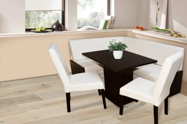 SET Coltar de Bucatarie Smart imitatie crem/pal wenge + masa + 2 scaune