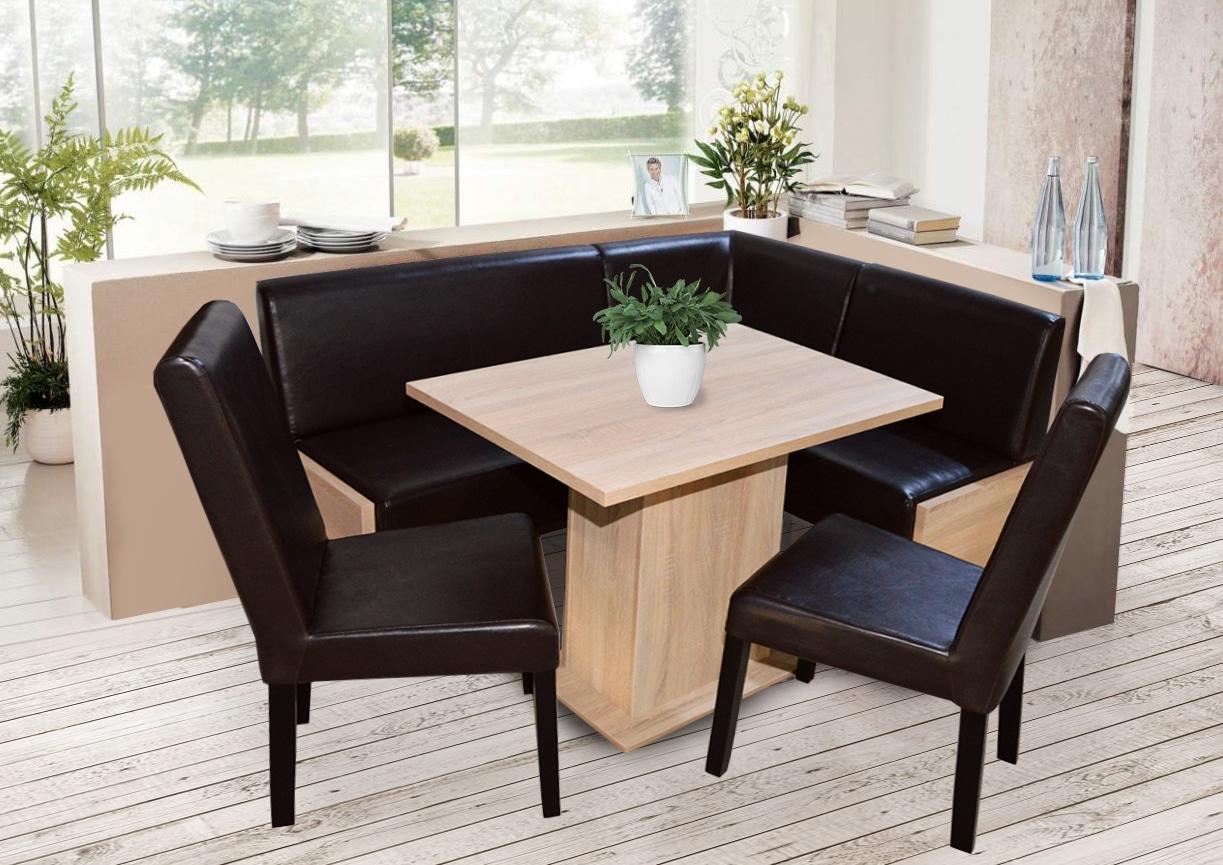 SET Coltar de Bucatarie Smart imitatie wenghe/pal sonoma + masa + 2 scaune