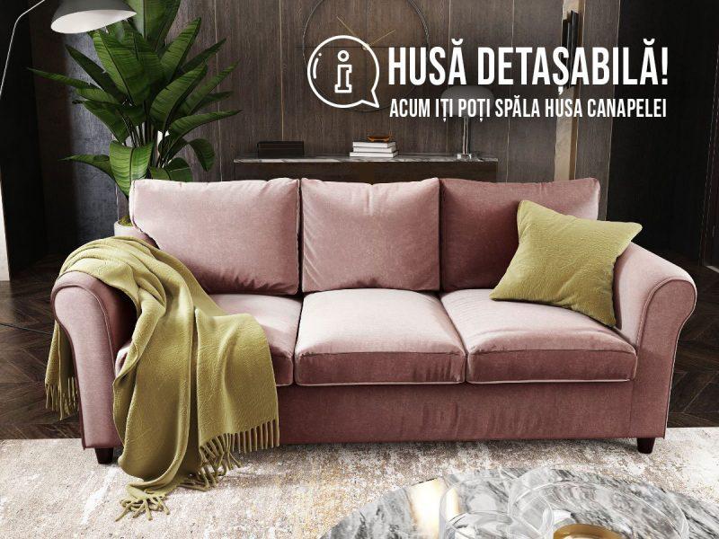 Canapea 3 locuri NOVILI Rose Roz (3)