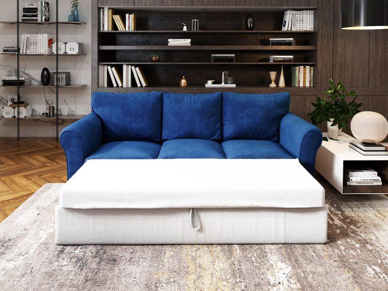 Canapea 3 locuri Extensibila Albastra NOVILI