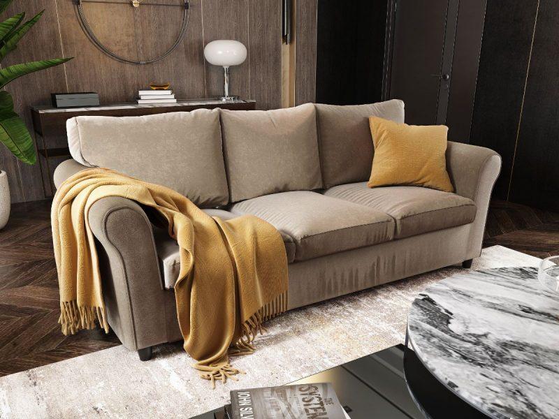 Canapea 3 locuri NOVILI Cappuccino / Maro