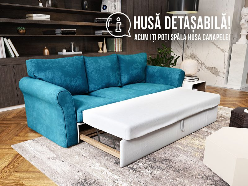 Canapea 3 locuri Extensibila Turcoaz NOVILI