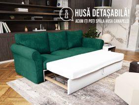 Canapea 3 locuri Extensibila Verde NOVILI