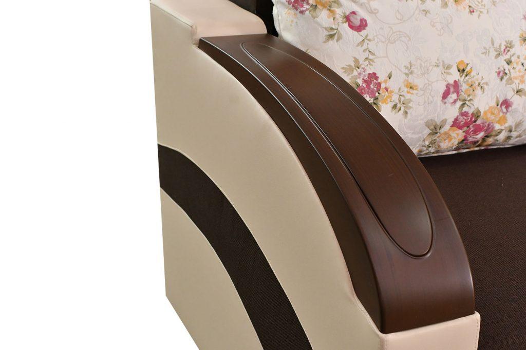 Canapea Loft stofamaro inchis, imitatiecrem - Extensibila cu lada