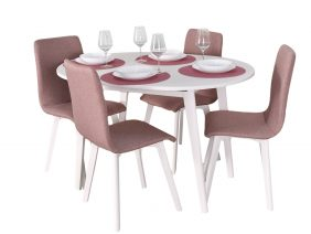 Set Masa Extensibila si 4 scaune Rosa Roz
